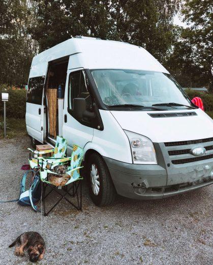 Ford Transit retkeilyauto ja kaksi borderterrieriä Parikkalan matkaparkissa.