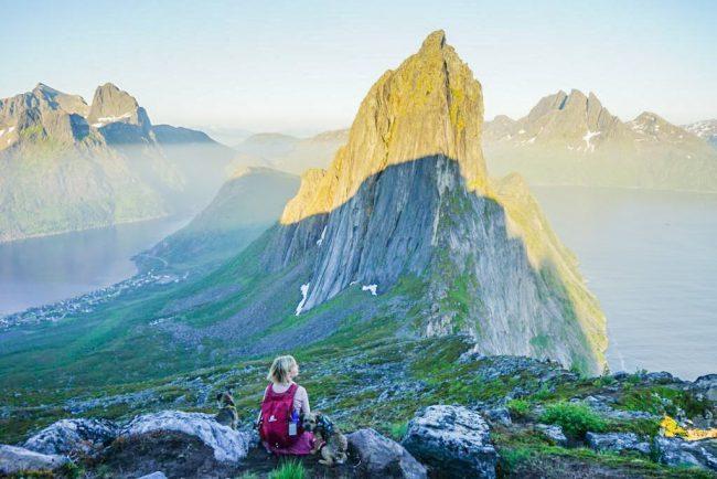Retkeilijä istuu vuoren rinteellä kahden borderterrierin kanssa, taustalla Segla-vuori.