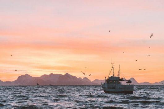 Alus seilaa merellä auringonlaskussa.