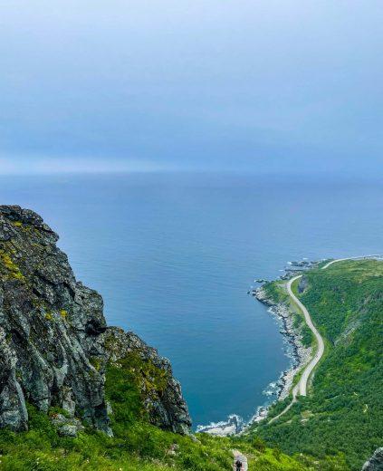 Maisemaa merelle päin Reinebringenin vuoren rinteeltä.
