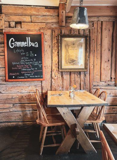 Gammelbua-ravintolan sisätilat.