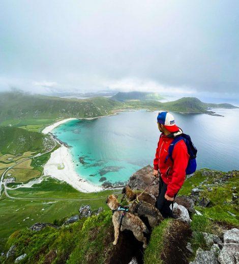 Retkeilijä ja kaksi borderterrieriä Mannen-vuoren huipulla.